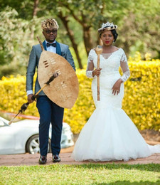 Wholesale Vintage Applique India - Elegant India Bridal Plus Size Wedding Dresses Mermaid Sheer Lace Sweep Train Tulle 2017 Outdoor Vintage Afracia Bridal Wedding Gowns
