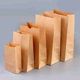 Wholesale Paper Bags Logo - 1000pcs Brown Kraft Paper Bags toast Candy bags Paper Gift Wrap Fast food bags for Boutique Recyclable printing logo customized