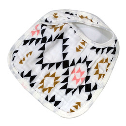 Wholesale Muslin Bibs - Newborn bib baby burp clothes nursing products in 100% cotton muslin with cute cartoon printing soft safe breathable bibs 3layers