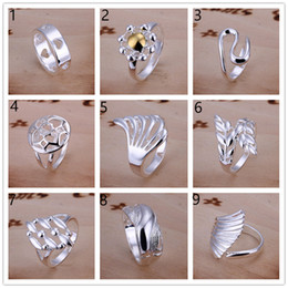 Wholesale Ordered Ring - Factory direct sale 10 pieces diffrent style 925 silver rings GSSR002D Brand new mix order fashion sterling silver finger ring