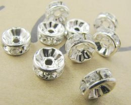 Wholesale 8mm Rhinestone Rondelle Beads - 8MM White Crystal Spacer Metal Silver Plated Rondelle Rhinestone Loose Beads For Best DIY Jewelry Making fit Bracelet 2252