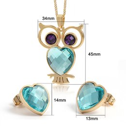 Wholesale Stainless Steel Earring Owl - Fashion Jewelry Jewelry Sets fashion owl jewelry sets for women 18k gold plated stainless steel necklace earrings
