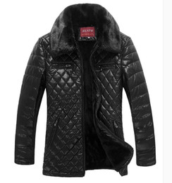 Wholesale Jackets Fur Collar Men - Fall-2016 Men's Leather Jacket Male Brand Stand Collar Plus Velvet Thicker Casual Fur Coat Waterproof Leather Jackets Jaqueta Couro