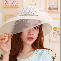 Wholesale Big Straw Hats For Women - Wholesale- New Summer Style Fashion Floppy Beach Hats For Women Casual Big Brim Straw Hats For Women Travel Holiday Suncreen Shade Sun Hats