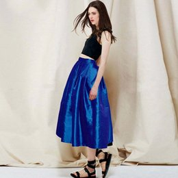 Wholesale Buy Satin Long Dress - 2017 Women Street Style Skirts Royal Blue Fashion High Waist Ruched Long Prom Dress Must Buy Free Shipping Wholesale Skirt Party Dresses