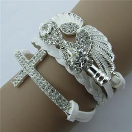 Wholesale Infinity Bracelets Sets - Retro Fashion jewelry set charms infinity bracelet Anti-fatigue Alloy with Diamond Angel Wings, 8 Cross Leather Rope Bracelet beads
