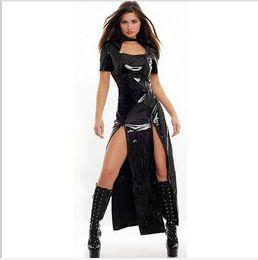 Wholesale Gothic Latex Catsuit - Wholesale- 2015 New Arrival Sexy Gothic Punk Fetish Black Latex Catsuit Faux Leather Costume PU Jumpsuit