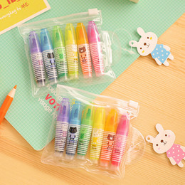 Wholesale Cartoon Highlighter - Wholesale-6 Pcs set 2016 New Real Caneta Rotuladores Novelty Cartoon Animals Highlighter Fluorescent Pen Markers Gift Stationery K6859