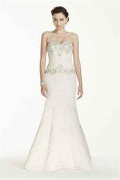 Wholesale Embellish Dresses - Jewel Spaghetti Strap Mermaid Wedding Dress V3758 Crystals Embellished Bodice Ultra-feminine sweetheart Bridal Dress vestido de novia