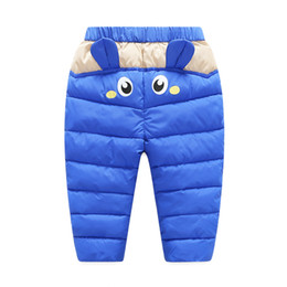 Wholesale Boys Waterproof Trousers - Baby Pants PU Surface Winter Warm For Boys Girls Waterproof Clothing Kids Thick Cotton Down Pants Children Winter Trousers