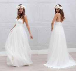 Wholesale Tiered Tulle Gown Style - Bohemian Beach Wedding Dresses Spaghetti Straps Pure White Ruched Tulle 2015 Wedding Dresses Simple Style Fairy Bridal Gowns Custom Made