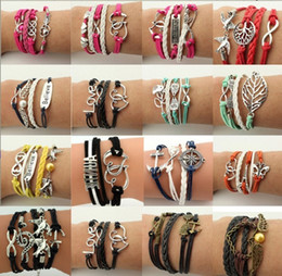 Wholesale Owl Bracelet Charms - 16 styles Creative leather Wraps bracelet love wings owl Charm multilayer Braided Bracelets For man woman Fashion Jewelry in Bulk