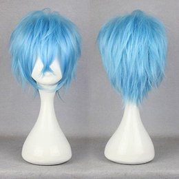 Wholesale Short Blue Cosplay Wigs - 100% Brand New High Quality Fashion Picture full lace wigs>> karneval-KAROKU 32cm Short Light Blue Straight Anime Party Cosplay Full Wig