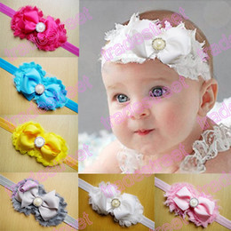Wholesale Shabby Chic Flowers For Babies - Free shipping 20pcs shabby chic hair bows headbands baby headbands flower headband for girls flower hair bows