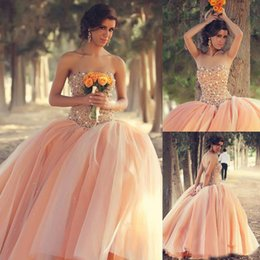 Wholesale Strapless Ruched Satin Ball Gown - New Sexy Peach Quinceanera Dresses Strapless Organza Ball Gown Floral Colorful Winter 2017 Girls Dresses Beaded Crystals Tulle
