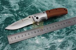 Bräunungsmesser holzgriff online-Neue Browning DA51 Tasche Klappmesser Holzgriff 56HRC 5Cr13 Klinge Taktische Überlebensmesser EDC Camping Werkzeuge