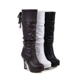 Wholesale Fur Snow Footwear - Free shipping knee boots women fashion snow winter footwear high heel shoes sexy warm half boot size 33-43