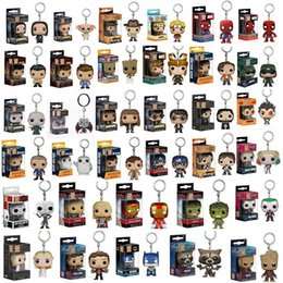 Wholesale Funko POP Marvel Super Hero Harley Quinn Deadpool Harry Potter Goku Spiderman Joker Game of Thrones Figurines Toy Keychain OTH030