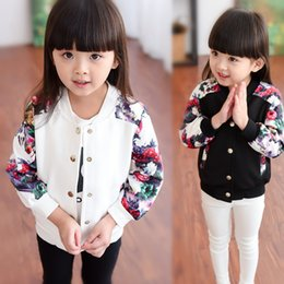 Wholesale Girls Denim Baseball - New Autumn Girls Baseball Uniform Coat Kids Floral Print Long Sleeve Cardigan Outerwear Kids Jacket Coat Children Casual Jackets White 12122