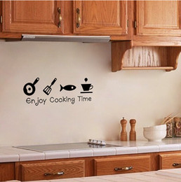 Wholesale Self Adhesive Wall Time - new enjoy cooking time proverb wall sticker for kitchen room on the wall indoor decoration removable Free shipping