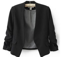 Costumes de femme en Ligne-Nouveau Printemps 2016 Tops Blazer Femmes Bonbons Manteau Veste Court Survêtement Manteaux Vestes Sans Bouton De Base Costume Blazers livraison gratuite
