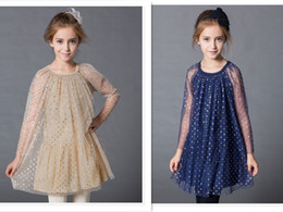 Wholesale Girls Heart Skirt - 2016 Spring Summer Big Girls shiny heart printing princess Dress Long Sleeve Hollowed Lace Gown skirt paint print Girls outfits Clothes 98