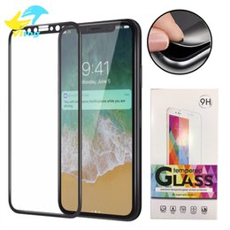 Wholesale Iphone Color Glass Screens - For iPhone 8 Plus iPhone X 3D Full Cover Color Tempered Glass Soft Edge Screen Protector for iPhone8 7 Plus with Package