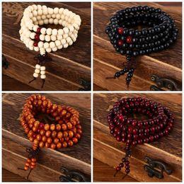 Wholesale Natural Sandalwood Beads - Newest buddha to buddha 108*8mm Natural Sandalwood Buddhist Buddha Meditation 108 beads Wood Prayer Bead Mala Bracelet Women Men Jewelry