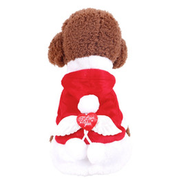 Wholesale Large Wings Costume - Free Shipping Angel Wing Santa Pet Dog Costume Christmas Pet Clothes Winter Hoodie Coat Festival Clothes for Dogs Clothing Chihuahua