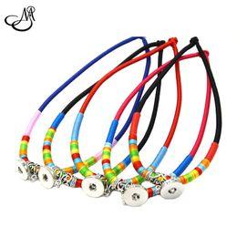Wholesale Retro Snap - 5pcs lot 18mm Snap Buttons Mix 5Color Retro Vintage Multicolor Braided Rope Necklace Pendant Interchangeable Charms Jewelry MIJ124