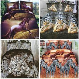 2019 rotgold seidenbettwäsche set top Heimtextilien 3D Tier Reaktivdruck Baumwolle 4 Stück Bettwäsche Set Bettdecke Bettbezug / Bettlaken Kissenbezug Bettwäsche