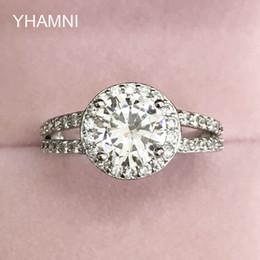 Wholesale 2ct Diamond Band - YHAMNI Original Real Natural 925 Silver Ring Set 8mm 2ct Diamond Band Engagement CZ Diamant Ring Wedding Jewelry For Women LR510