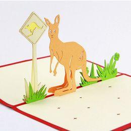 Wholesale Australian Souvenirs - Wholesale- Australian kangaroo road sign  3D pop up greeting card  handmade souvenir Free shipping