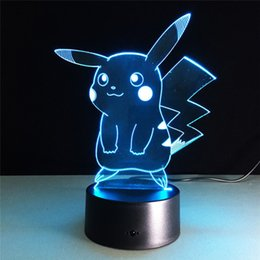 Wholesale pikachu party - Cartton 3D Lamp Cute Pikachu Night Lights LED Night Lamp with 7 Colors Desk Lamp as Children Birthday& Holiday Gifts
