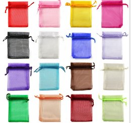 Wholesale Drawstring Organza Pouch - Cheap Organza jewelry gift bags 7x9 9x12 10*15 13x18 17x23 20x30 cm Organza Drawstring Pouch bag Christmas Wedding Voile Gift Bag wholesales