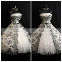 Wholesale Cheap White Strapless Wedding Dress - Strapless A-Line Wedding Dresses Black Lace Appliques Tea-Length Gothic Bridal Gowns 2017 New Arrival Custom Vestidos De Mariage Cheap