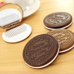 Wholesale Pocket Sandwich - Mini Cute Cocoa Cookies Mirror Pocket Portable Mirror Chocolate Sandwich Biscuit Makeup Mirror Plastic Makeup Tools