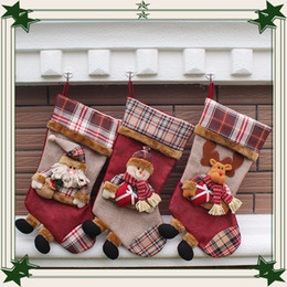 Wholesale Korean Wholesale Christmas Gift Bags - 2016 Thicking Korean style Plaid Christmas Snowman Santa Claus Christmas stocking candy gift bag Christmas Decoration Supplies