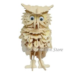Wholesale Wholesale 3d Wood Puzzles - Wholesale-Wood Puzzle Owl Model 3D Puzzles Wooden Puzzles DIY Toy Woodcraft Handmade Toy Learning Educational Toys For Children Kids Adult
