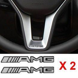 Wholesale Benz Wheel - NEW 2PCS ALUMINIUM AMG Steering Wheel Sticker Badge Logo Emblem Alloy Free shipping