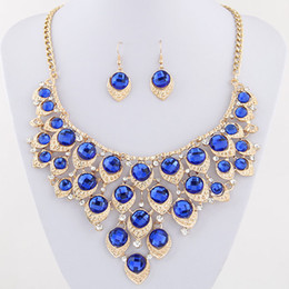 Wholesale Golden Statement - African Beads Jewelry Set Crystal Statement Necklace Set Wedding Jewelry Set For Bridal Rhodium Gold Plated Jewellery Sets