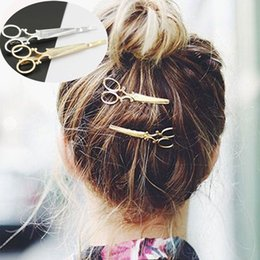 Wholesale Best Hair Scissors - Wholesale-2016 Gold silver Scissors HairPins Shears Clip For Hair Tiara Barrettes Headdress Vintage Simple Head Jewelry best Friends gift