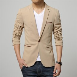 Wholesale Korean Mens Blazers - Mens Korean slim fit fashion cotton blazer Suit Jacket black blue beige plus size M to 4XL Male blazers Mens coat Wedding dress