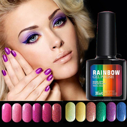 Wholesale Wholesale Shimmer Nail Polish - Black Bottle 10ML Neon Nail Gel Polish Rainbow Shimmer UV&LED Gel Long-Lasting soak off color painting gel varnish