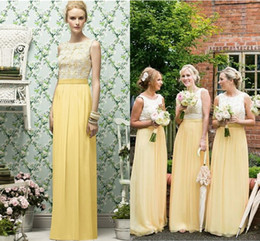 Wholesale Garden Wedding Lace Bridesmaid Dress - Chiffon Garden Long Yellow Bridesmaid Dresses Floor Length Sleeveless Lace Top Custom Made Beach Maid Of Honor Dresses For Wedding