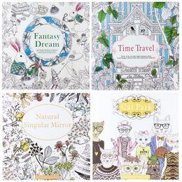 Wholesale Dreams Book - 4 Design lot Secret Garden Fantasy Dream Combo Kit Coloring Book Children Relieve Stress Kill Time Graffiti Painting Magic forest Drawing