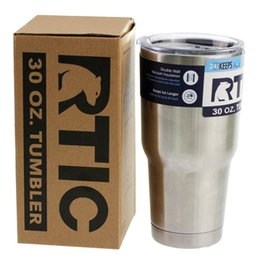 Wholesale Pp Coffee Cup - 30OZ RTIC Tumbler Cups 304 Stainless Steel 30 oz RTIC Rambler Cooler Vacuum Insulated Vehicle Coffee Beer Mug Cups TO96