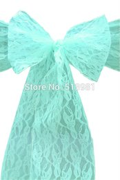Wholesale Best Chair Sashes Wedding - 100 PCS mint green lace Wedding Chair Cover Sashes Sash Party Banquet Decor Bow ,best quality and lowest price free shipping