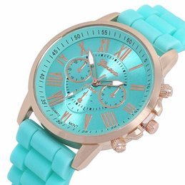 Wholesale Womens Jelly Silicone Watches Wholesale - Geneva silicone watch unisex mens womens luxury watches roma dial rubber quartz watches jelly candy wrist watches for women mens 100pcs