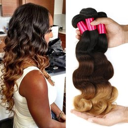 Wholesale Colorful Brazilian Hair - Ombre Hair 3Tone Brazilian Body Wave Human Hair Weaves 3pcs lot 100g Bundle,Beauty Colorful Brazilian Virgin Hair Ombre Weave Brazilian Hair